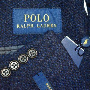 NWT $598 44R Polo Ralph Lauren Blue TWEED blazer